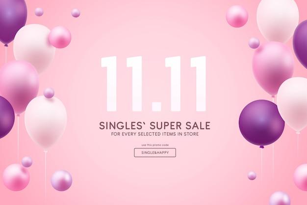 Concepto del día de solteros con globos.