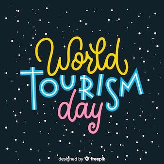 Concepto de día de turismo con letras