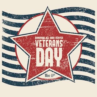 Concepto de día de veteranos de letras vintage