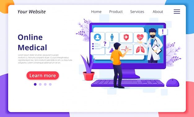 Concepto de diagnóstico médico en línea, ilustración de asistencia médica en línea. plantilla de diseño de página de destino del sitio web