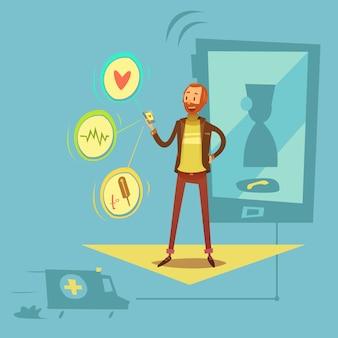 Concepto de diagnóstico de salud móvil con ilustración de vector de dibujos animados de símbolos de salud y medicina