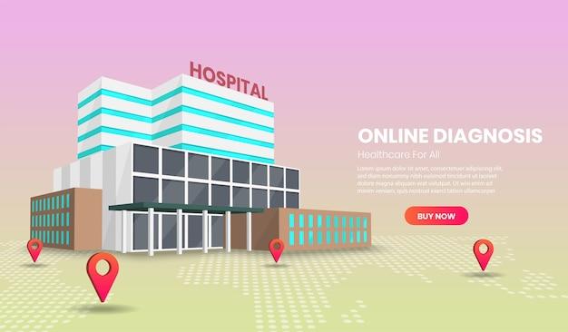 Concepto de diagnóstico y tratamiento médico en línea con hospital.