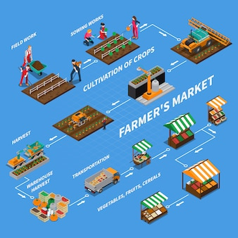 Concepto de diagrama de flujo del mercado de agricultores
