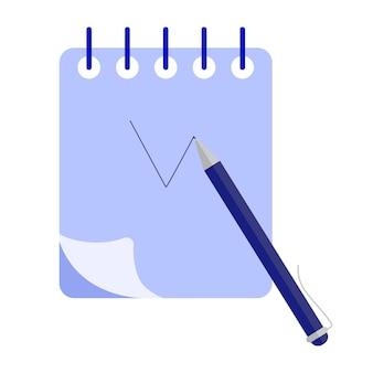 Concepto de diario de escritura. planificación del horario del día en el cuaderno diario de papel. ilustración de concepto plano
