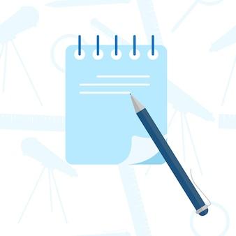 Concepto de diario de escritura. planificación del horario del día en el cuaderno diario de papel. ilustración de concepto de vector plano