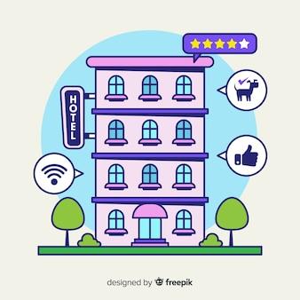 Concepto dibujado de crítica de hotel
