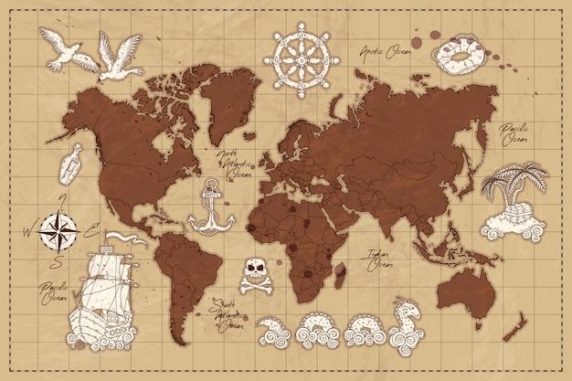 Concepto dibujado mano del mapa del mundo vintage