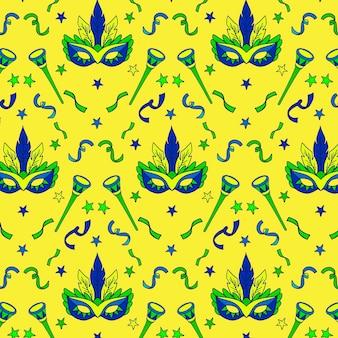 Concepto dibujado a mano para el patrón de carnaval brasileño
