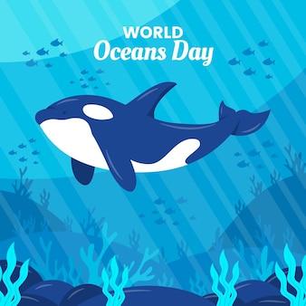 Concepto de dibujo del día mundial de los océanos