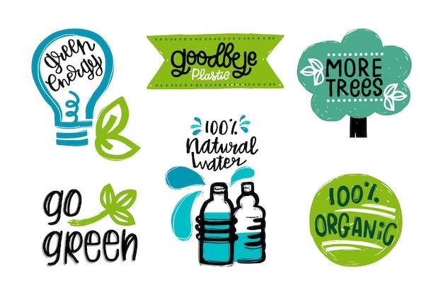 Concepto de dibujo de insignias de ecología