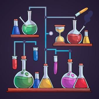 Concepto de dibujo de laboratorio de ciencias