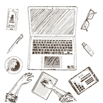 Concepto de dibujo de lugar de trabajo empresarial