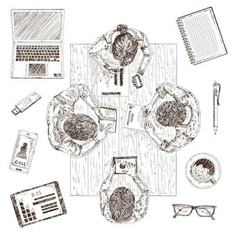 Concepto de dibujo de reunión de negocios