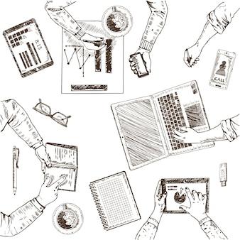 Concepto de dibujo de trabajo en equipo de negocios