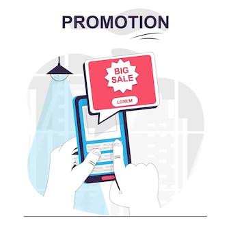 Concepto de dibujos animados aislados de promoción el usuario ve publicidad de gran venta en el marketing de aplicaciones móviles