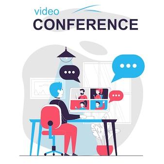 Concepto de dibujos animados aislados de videoconferencia hombre que lleva a cabo una reunión en línea mediante videollamada