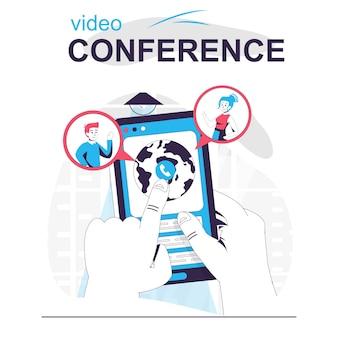 Concepto de dibujos animados aislados de videoconferencia el usuario hace videollamadas en línea en la aplicación móvil