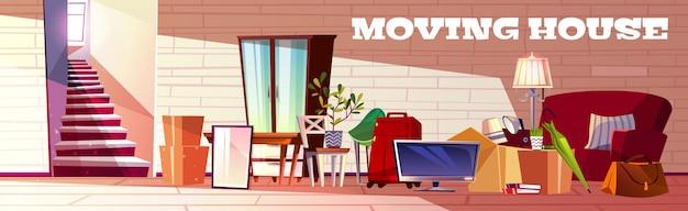 Concepto de dibujos animados de casa móvil con caja llena de cosas del hogar, bolsas de equipaje, plantas caseras