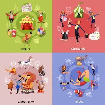 Concepto de dibujos animados de circo