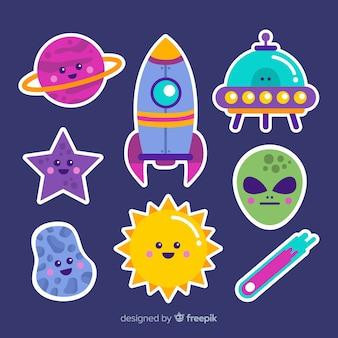 Concepto de dibujos animados de colección de stiker espacial