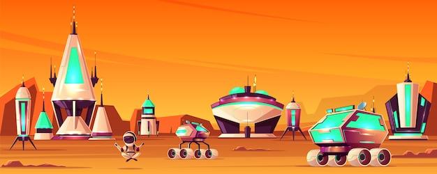 Concepto de dibujos animados de la colonia espacial en marte con naves espaciales o cohetes, edificios futuristas
