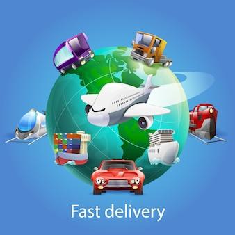Concepto de dibujos animados de entrega rápida