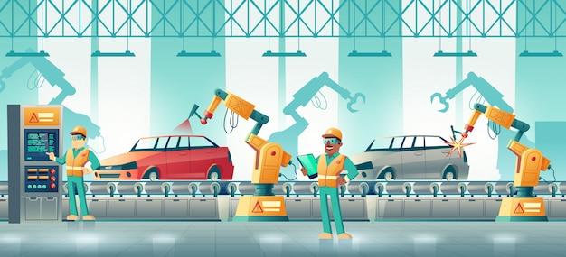 Concepto de dibujos animados de la fábrica de coches robotizados