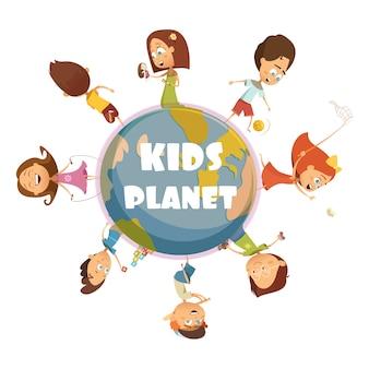 Concepto de dibujos animados de niños jugando con los niños planeta símbolos vector ilustración