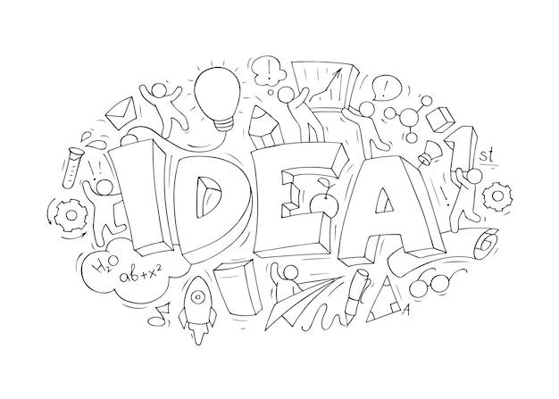 Concepto de dibujos animados con la palabra idea y elementos creativos. el concepto empresarial de hacer una idea.