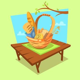 Concepto de dibujos animados de panadería con cesta de estilo retro llena de pan en el fondo al aire libre