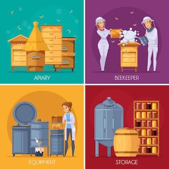 Concepto de dibujos animados de producción de miel de colmenar