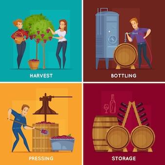 Concepto de dibujos animados de producción de vino de bodega