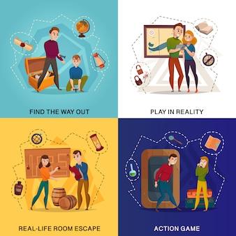 Concepto de dibujos animados de realidad de juego de búsqueda