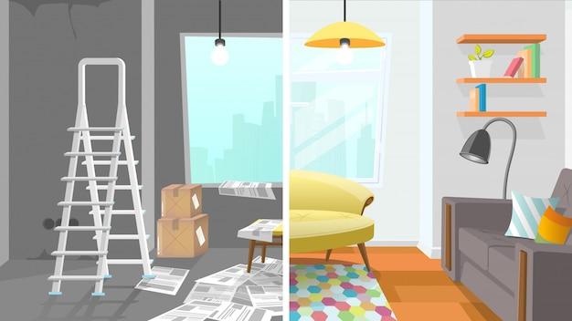 Concepto de dibujos animados de reparación de sala de apartamento