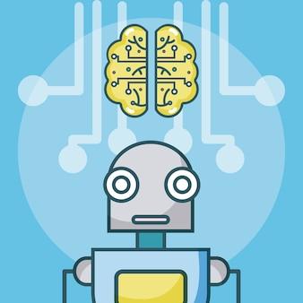 Concepto de dibujos animados robot de inteligencia artificial
