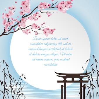 Concepto de dibujos animados de sakura con motivos japoneses y círculo blanco con lugar para poema