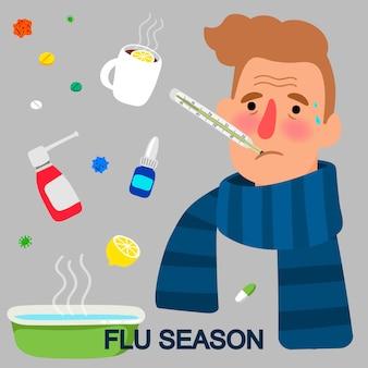 Concepto de dibujos animados de la temporada de gripe