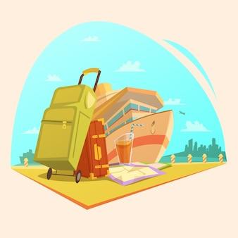 Concepto de dibujos animados de viaje