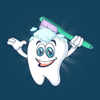 Concepto de diente feliz saludable, estilo de dibujos animados