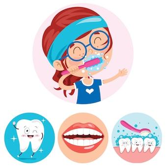 Concepto de dientes cepillados con personaje de dibujos animados