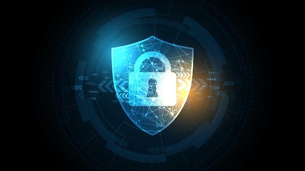 Concepto digital cibernético de seguridad de candado