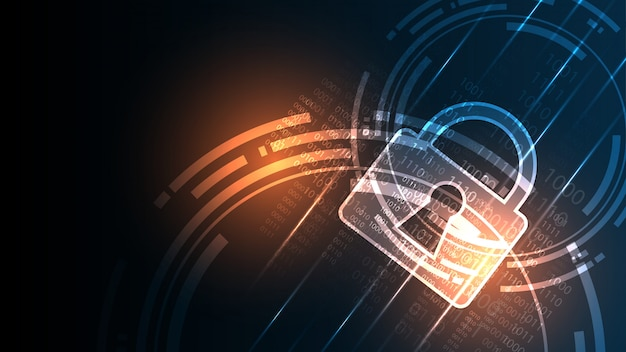 Concepto digital de seguridad cibernética fondo de tecnología abstracta