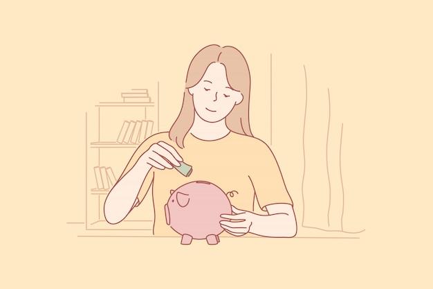 Concepto de dinero, ahorro, inversión, capital empresarial.