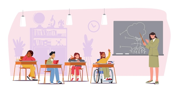 Concepto de discapacidad y educación caracteres para niños en lección