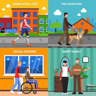Concepto de discapacitados 4 iconos planos cuadrados
