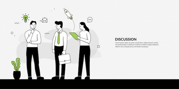 Concepto de discusión de personas, trabajo en equipo para el programa de soluciones empresariales