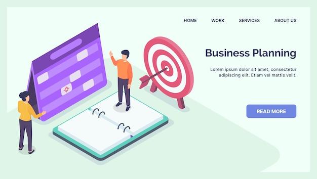 Concepto de discusión de planificación empresarial para la página de inicio de la plantilla del sitio web con plano isométrico moderno