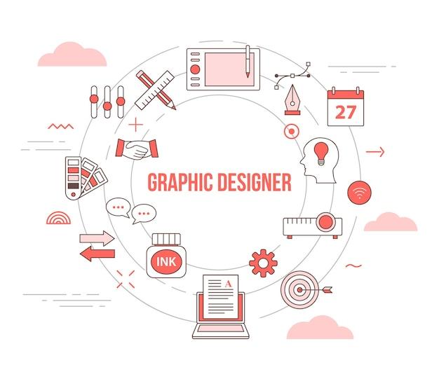 Concepto de diseñador gráfico con banner de plantilla de conjunto de iconos