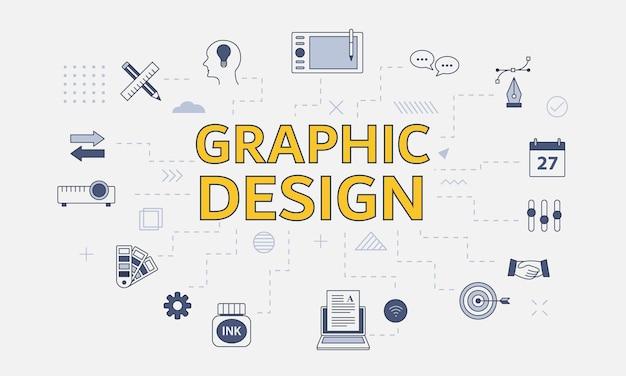 Concepto de diseñador gráfico con conjunto de iconos con gran palabra o texto en el centro
