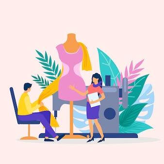 Concepto de diseñador de moda de ilustración plana